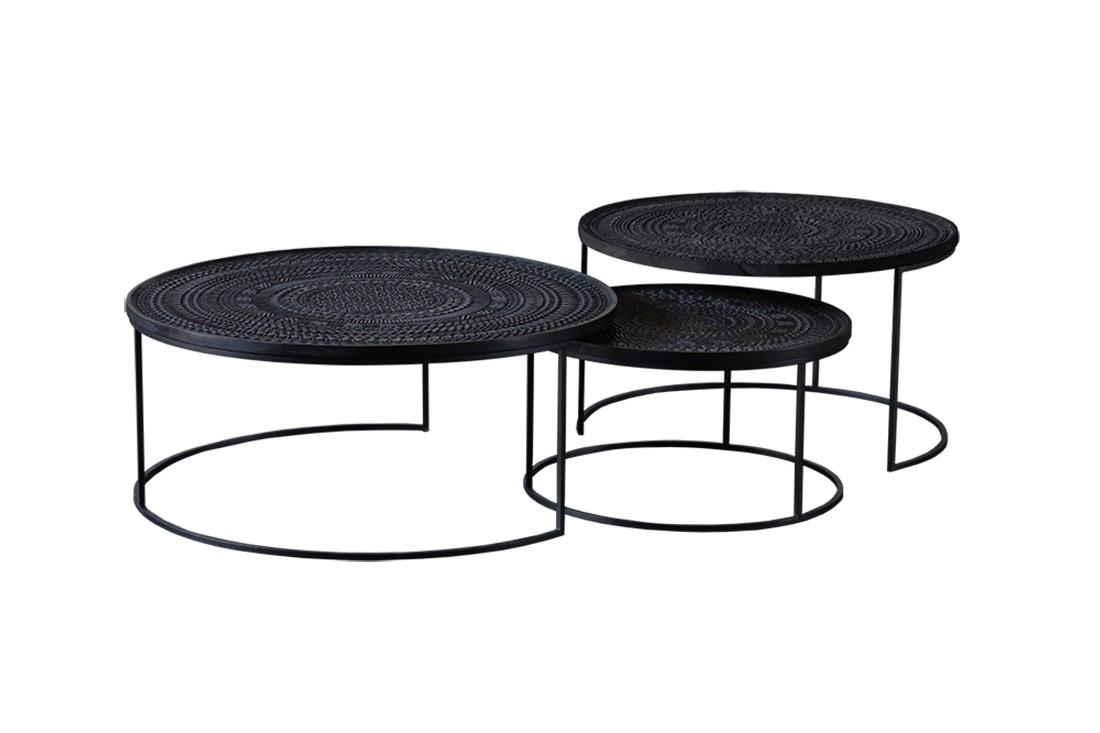 Ancestors Tabwa Round Nesting Coffee Table 3 Set | Viesso with Set Of Nesting Coffee Tables (Image 4 of 30)