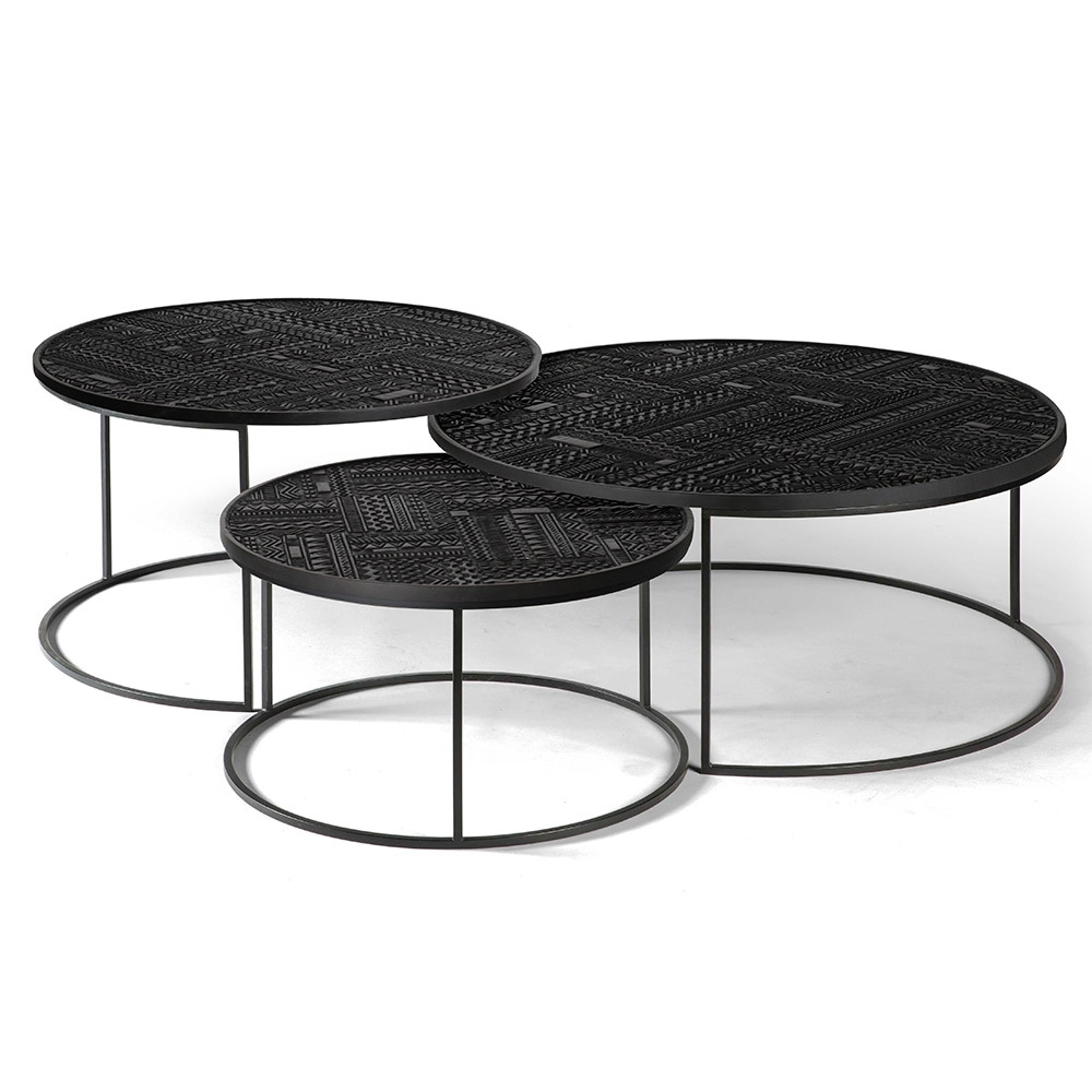 Ancestors Tabwa Round Nesting Coffee Table – Set Of 3 – Rouse Home intended for Set Of Nesting Coffee Tables (Image 5 of 30)