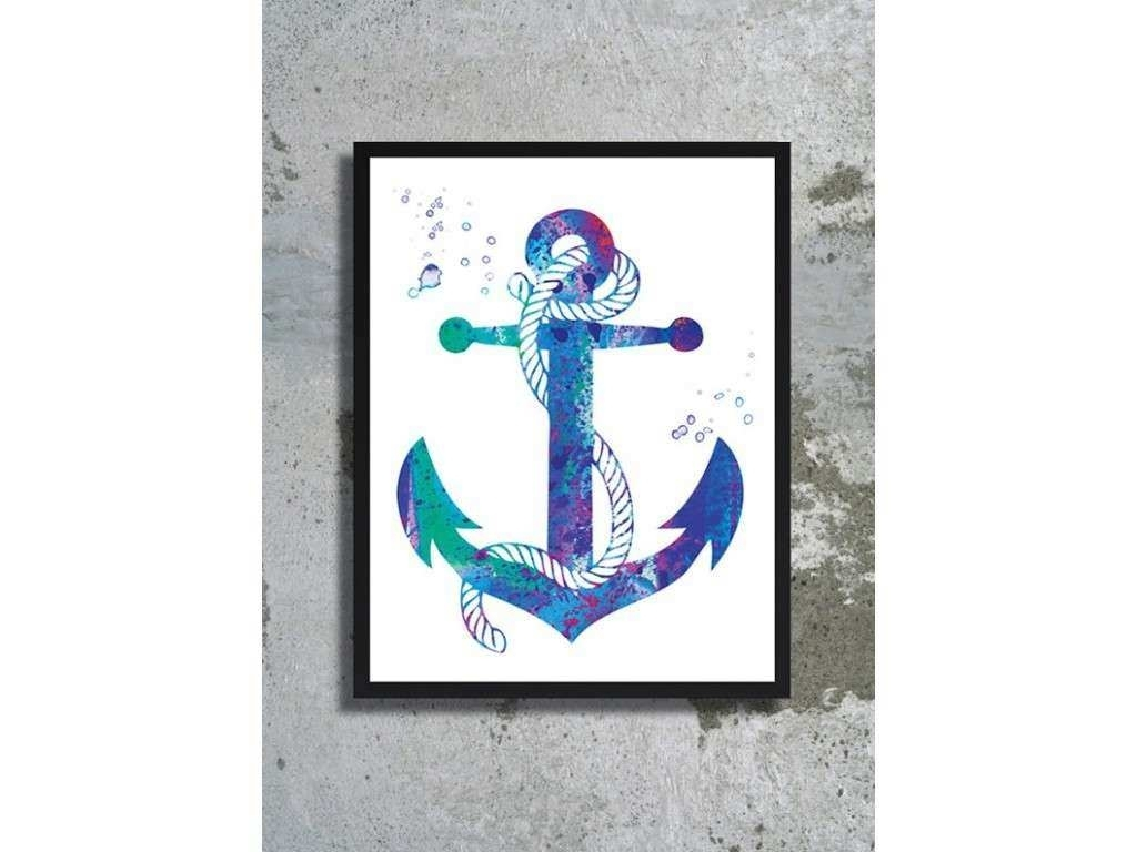 Anchor Wall Art Awesome Nautical Anchor Watercolor Art Print Sea intended for Anchor Wall Art (Image 5 of 20)