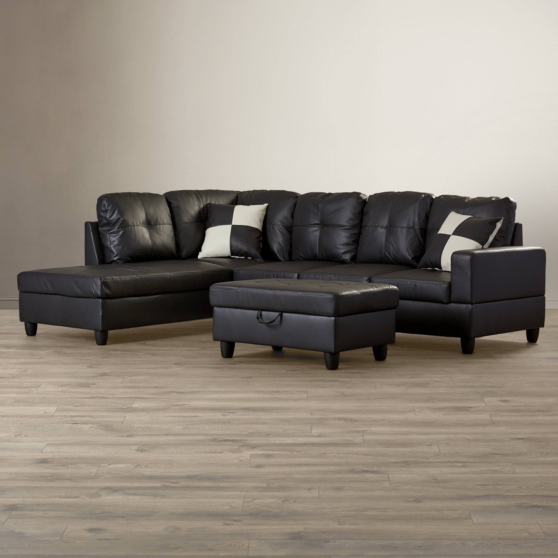 Andover Mills Russ Sectional With Ottoman & Reviews | Wayfair within Mill Large Leather Coffee Tables (Image 3 of 30)