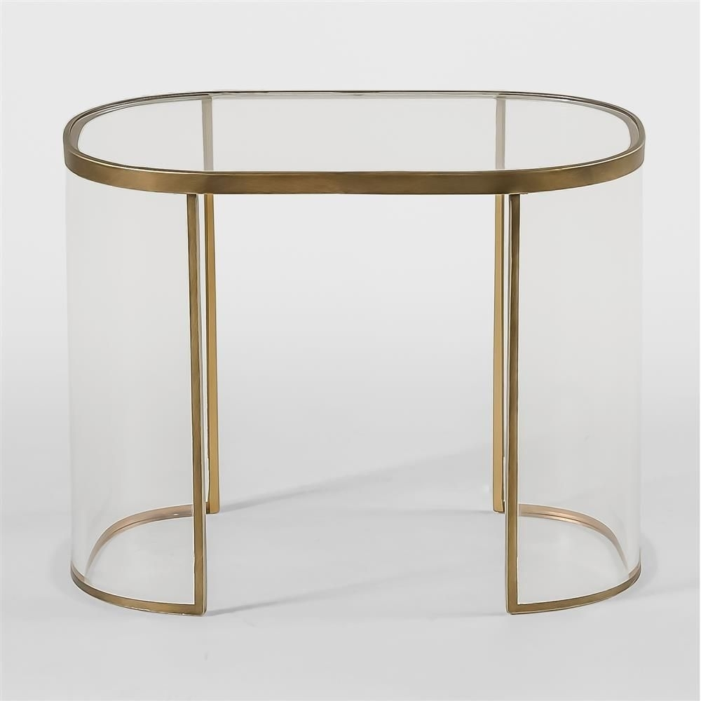 Angelise Modern Acrylic Brass Oval End Table | Acrylics, Modern And regarding Acrylic & Brushed Brass Coffee Tables (Image 3 of 20)