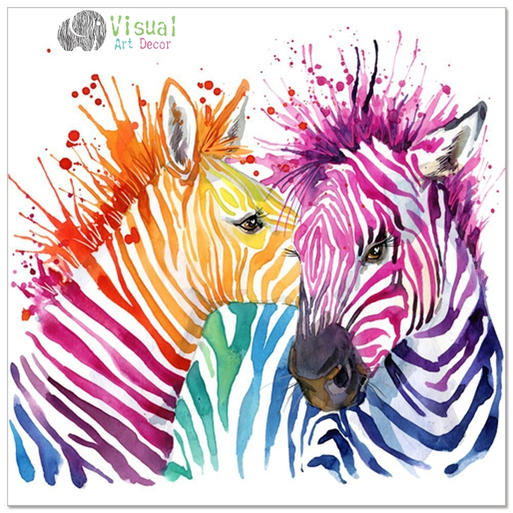 Animal Canvas Wall Art Modern Living Room Wall Decals Colorful Zebra intended for Animal Canvas Wall Art (Image 11 of 20)