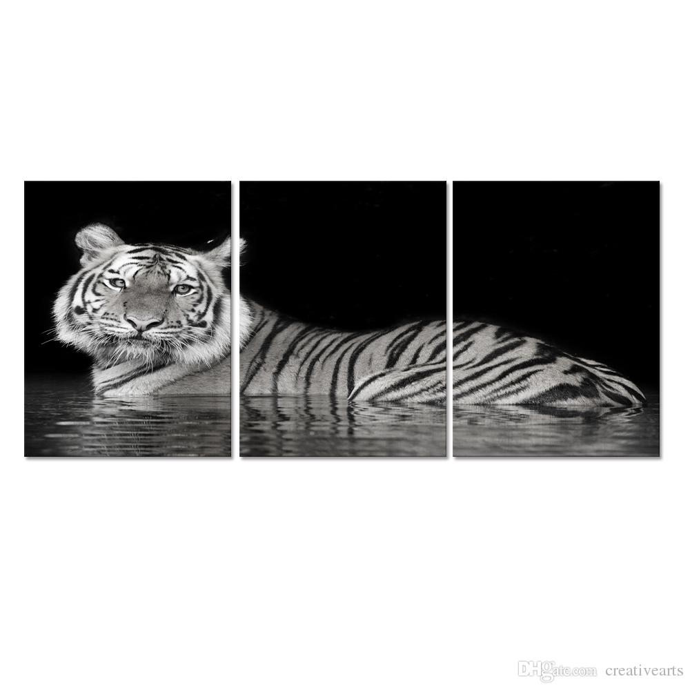 Animal Canvas Wall Art White Tiger Picture Printed On Canvas Wall for Animal Canvas Wall Art (Image 12 of 20)