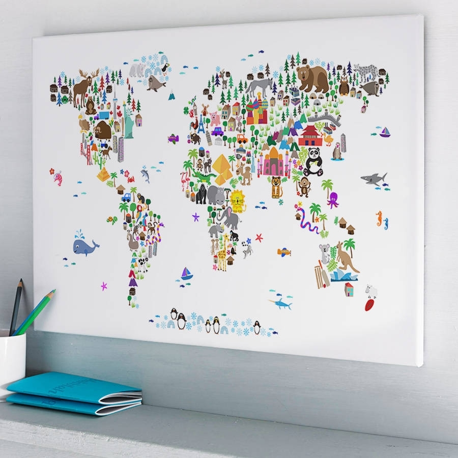 Animal World Map Printartpause | Notonthehighstreet Pertaining To World Map Wall Art For Kids (View 3 of 20)
