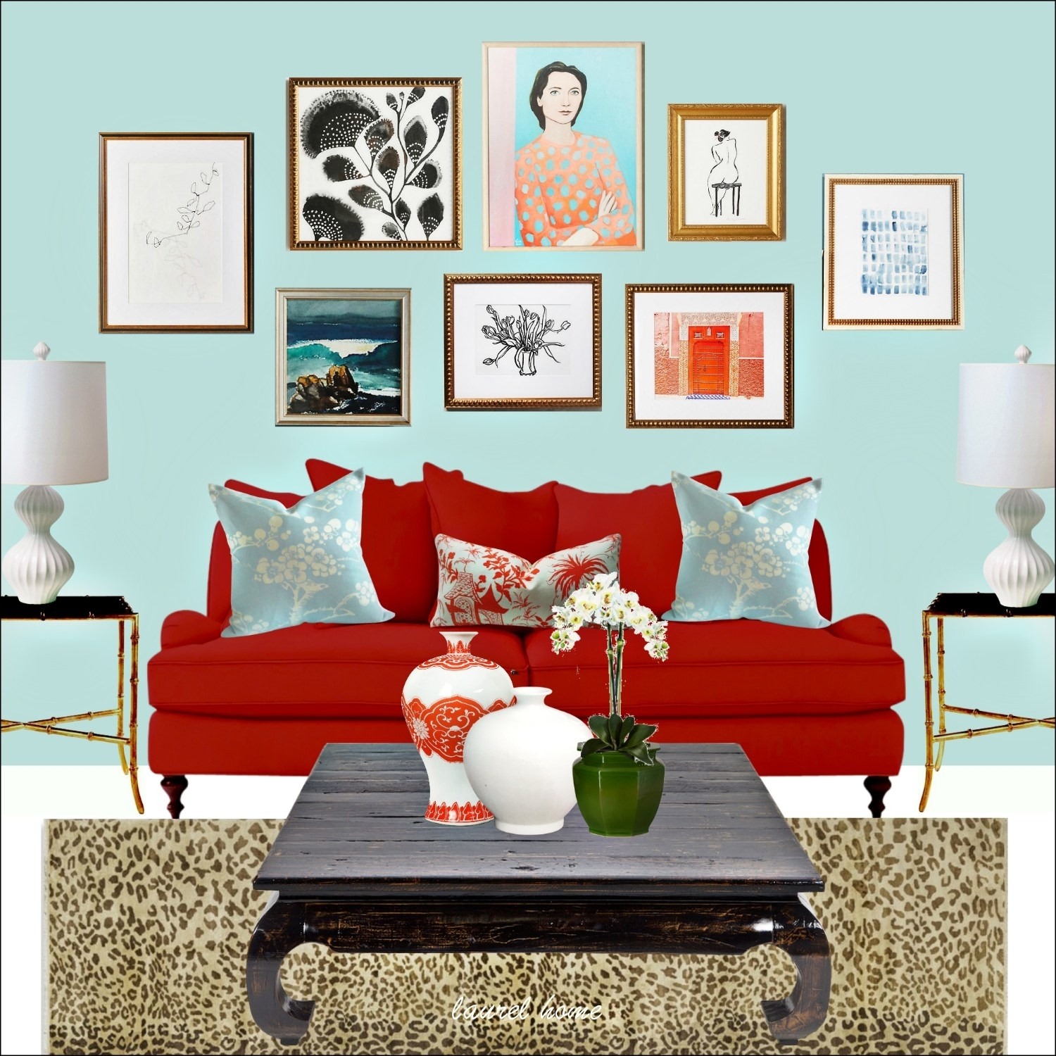 Anthropologie Art Wall With Artfully Walls Art And Red Sofa And within Artfully Walls (Image 4 of 20)