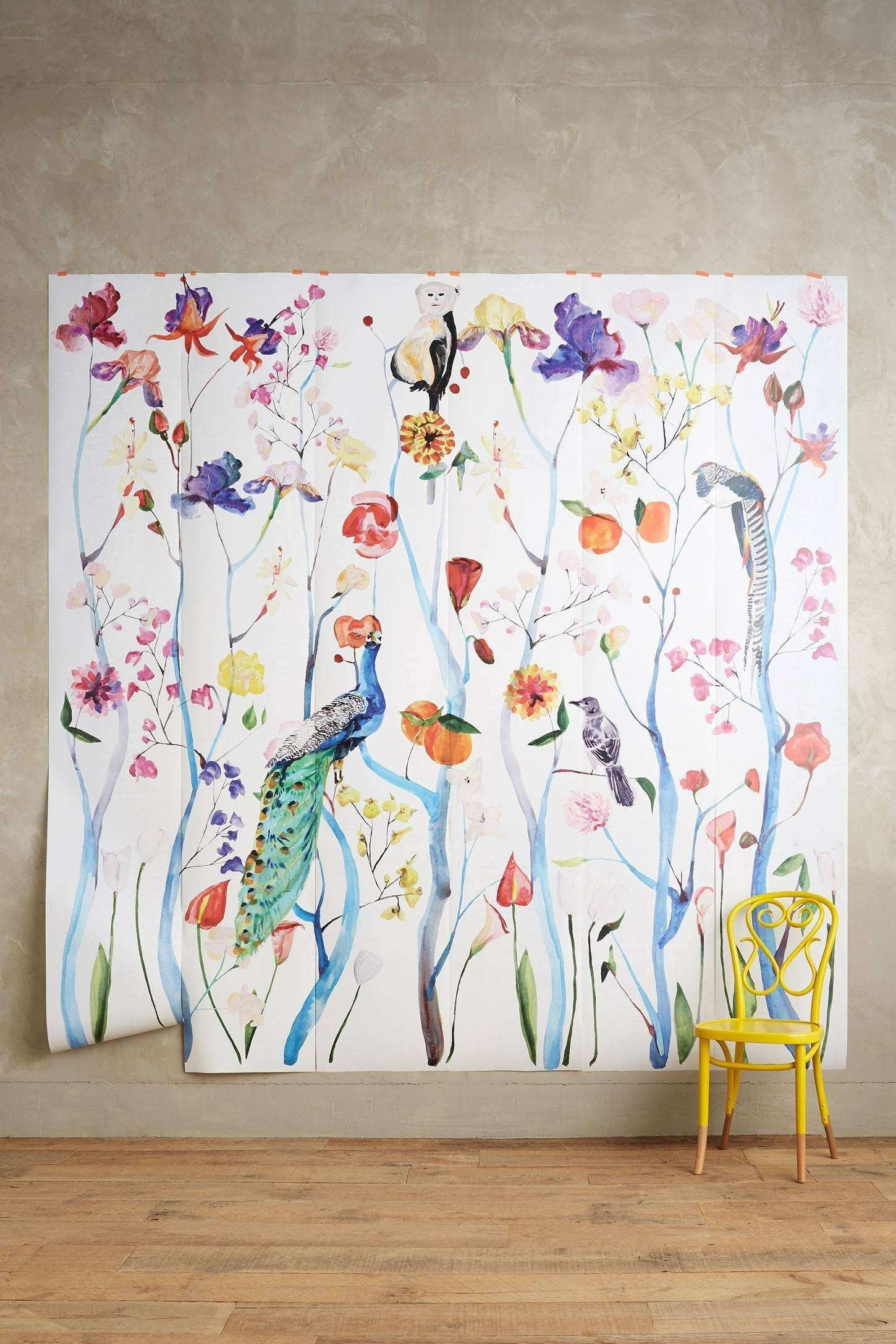 Anthropologie Wall Art Awesome Garden Chinoiserie Mural | Wall Art Ideas pertaining to Anthropologie Wall Art (Image 2 of 20)