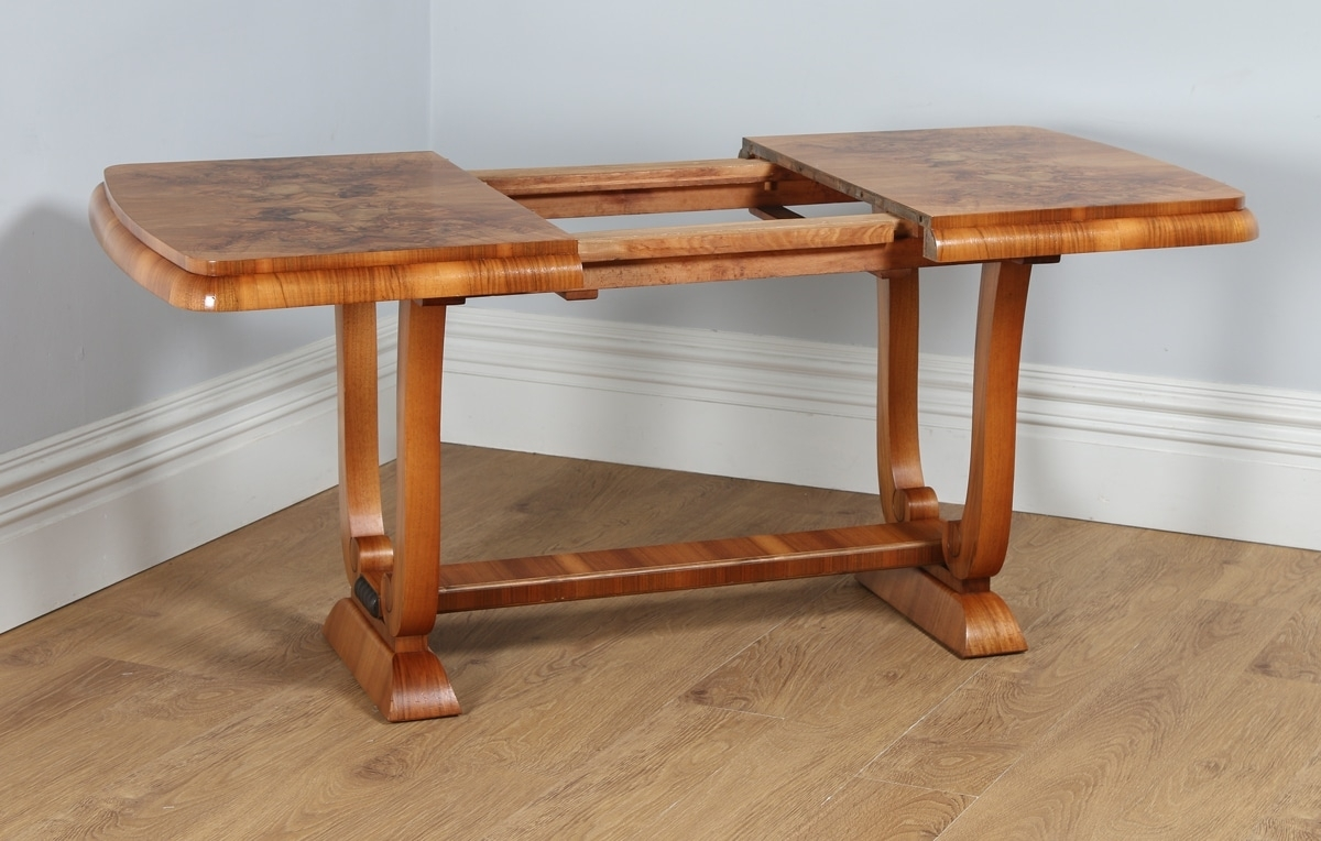 Antique English Art Deco Burr Walnut Extending Dining Table (Circa within Antiqued Art Deco Coffee Tables (Image 5 of 30)