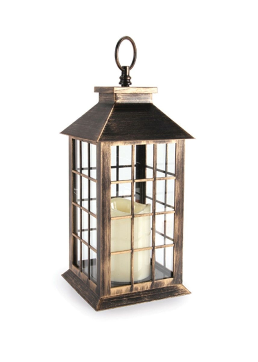 Antique Gold Lantern With Battery Operated Candle – 11 | Pinterest Within Outdoor Lanterns With Battery Operated Candles (View 1 of 20)