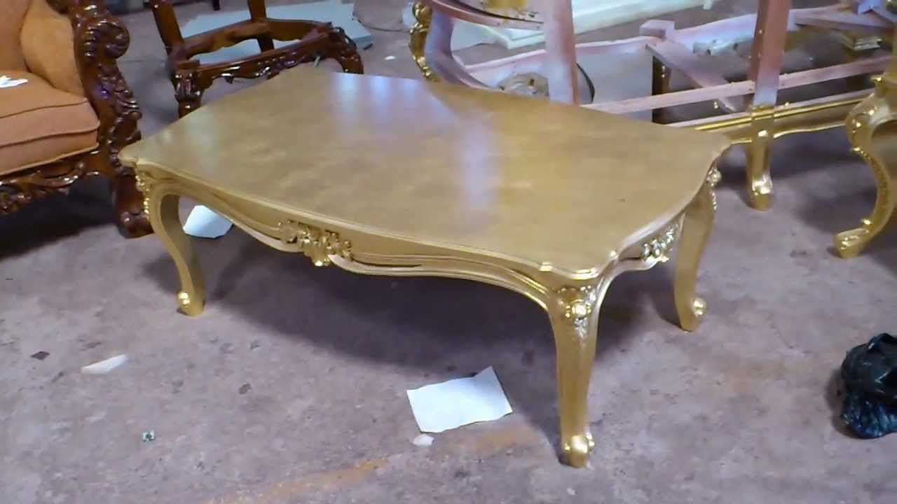Antique Gold Leaf Carving Coffee Table - Vixidesign - Youtube with Gold Leaf Collection Coffee Tables (Image 4 of 30)