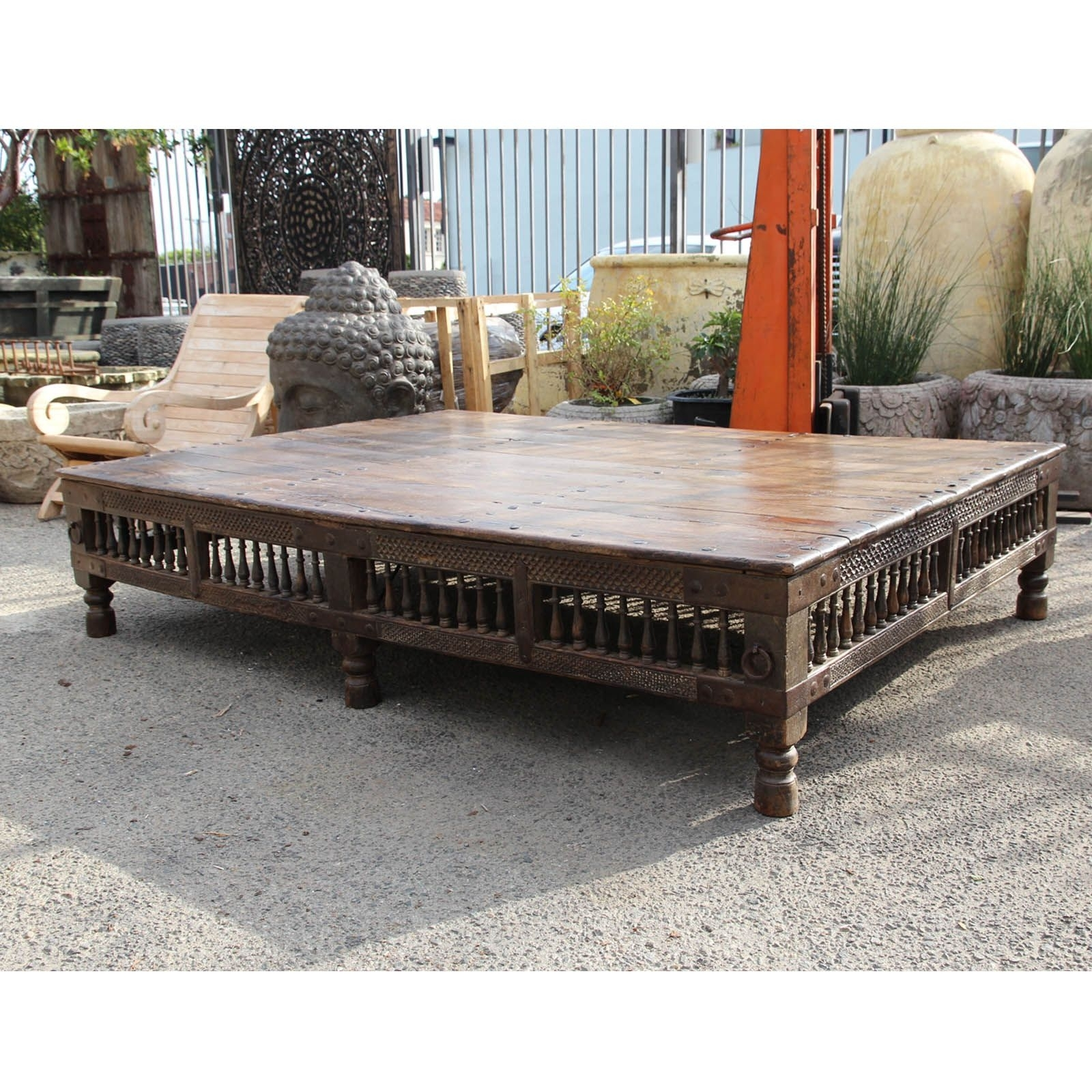 Antique Indian Thaket Coffee Table. Teak Wood Construction With pertaining to Large Teak Coffee Tables (Image 3 of 30)