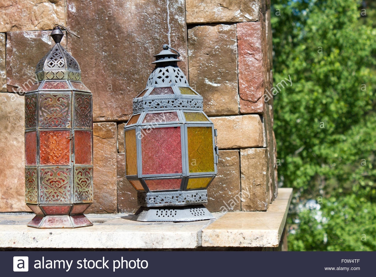Antique Looking Metal Lanterns With Colorful Stained Glass Panels regarding Colorful Outdoor Lanterns (Image 1 of 20)