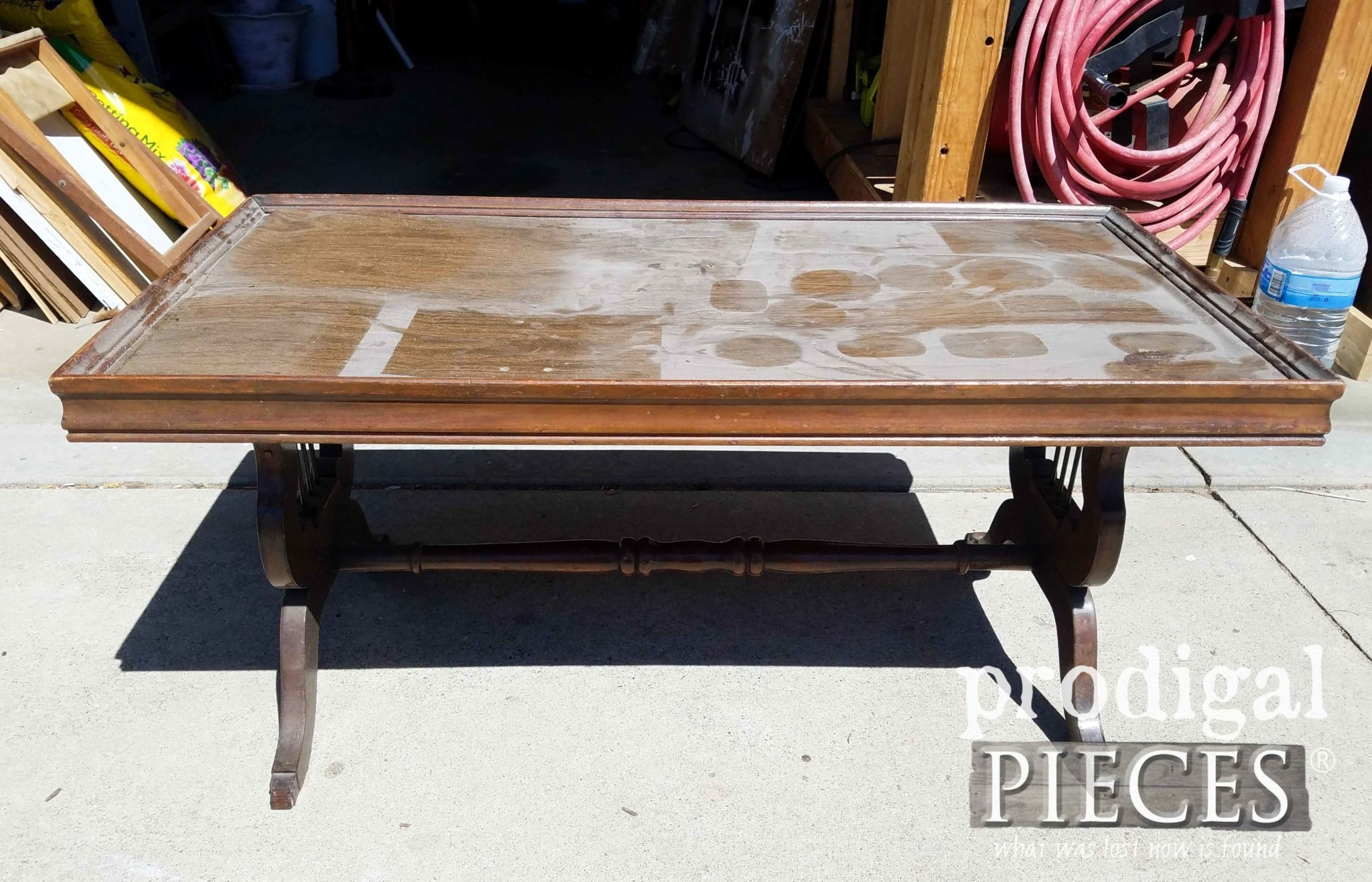 Antique Lyre Coffee Table Rescued & Restored - Prodigal Pieces regarding Lyre Coffee Tables (Image 4 of 30)