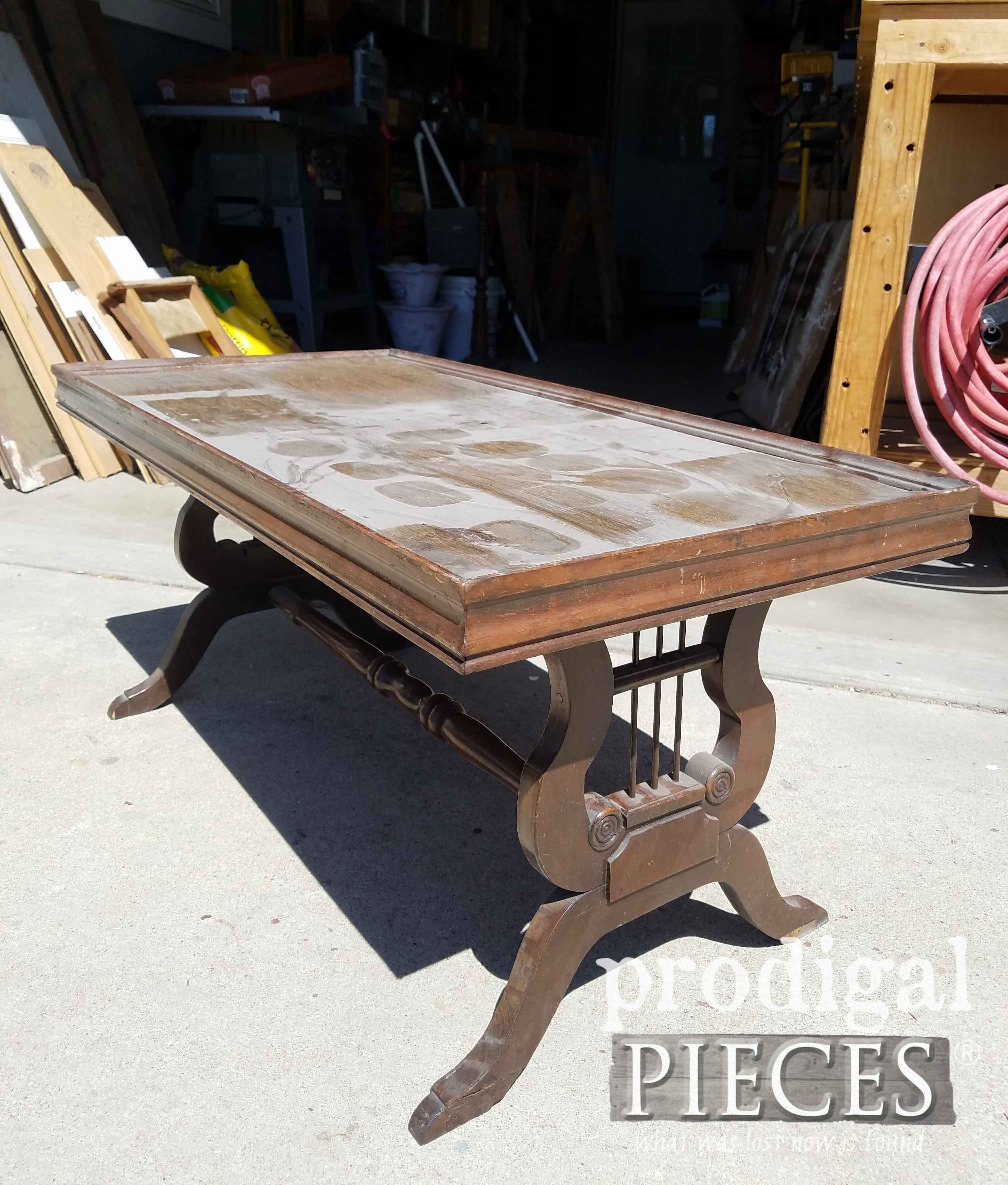Antique Lyre Coffee Table Rescued & Restored - Prodigal Pieces regarding Lyre Coffee Tables (Image 3 of 30)