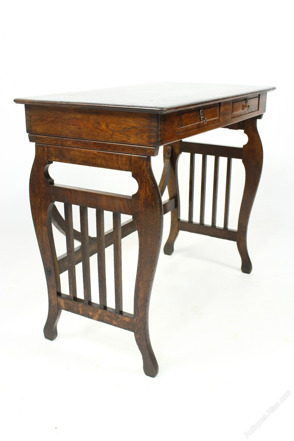 Antique Oak Lyre End Table With Drawers - Antiques Atlas intended for Lyre Coffee Tables (Image 5 of 30)