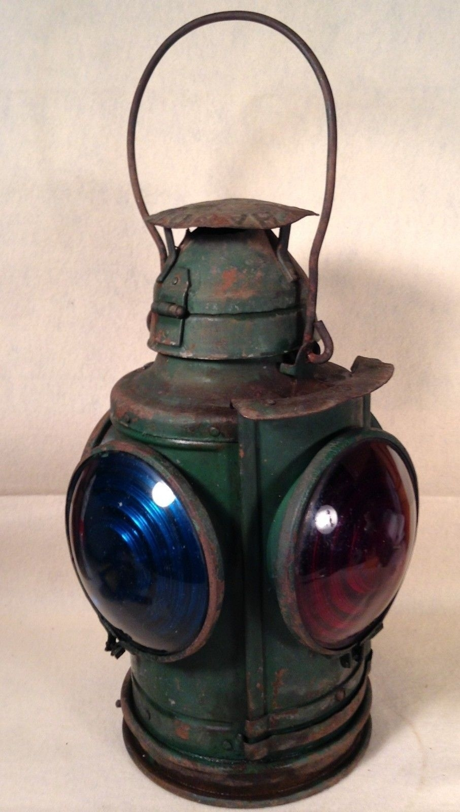 Antique Vintage Handland Railroad Lantern St. Louis - 4 Lens - 1 Red pertaining to Outdoor Railroad Lanterns (Image 4 of 20)