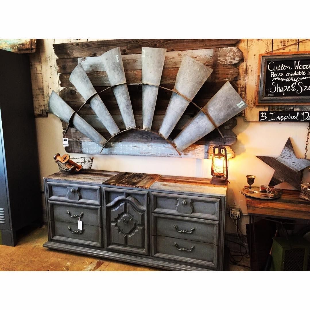Antique Windmill Wall Art – Mounted On Chippy Reclaimed Wood – Hangs For Windmill Wall Art (View 7 of 20)