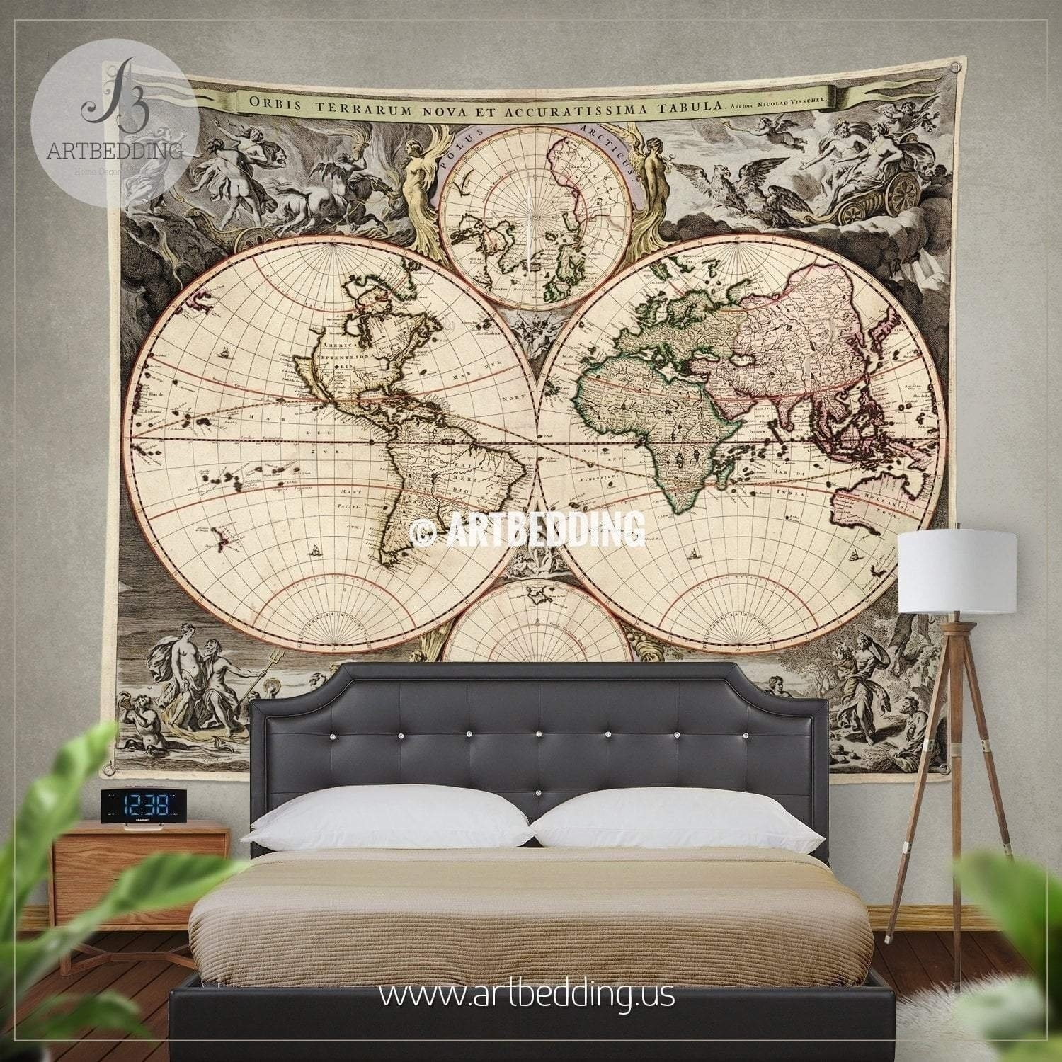 Antique World Map Wall Tapestry Vintage World Map Wall Hanging inside Old World Map Wall Art (Image 2 of 20)