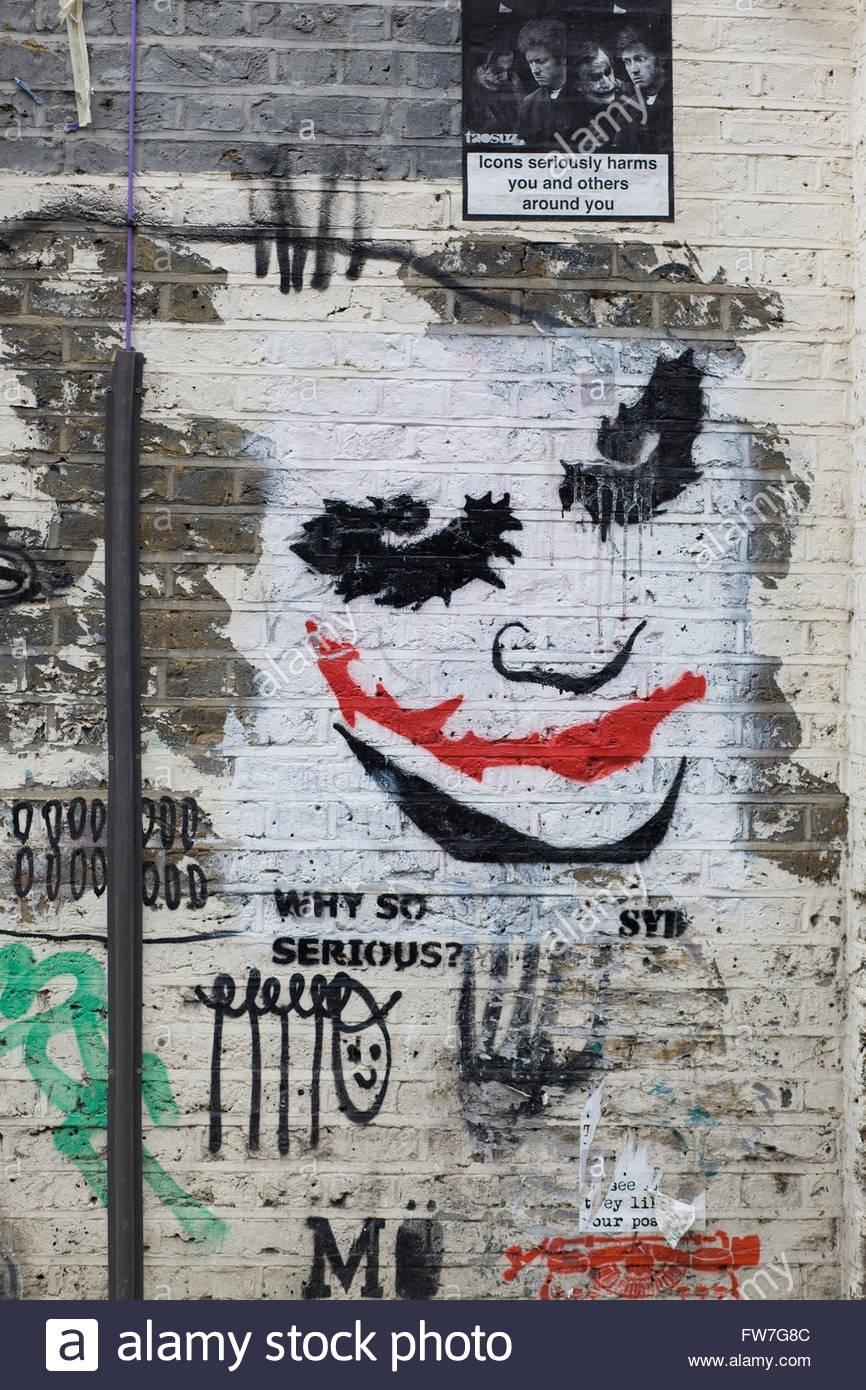 Approved Wall Art Graffiti, The Joker From Batman Stock Photo for Joker Wall Art (Image 5 of 20)
