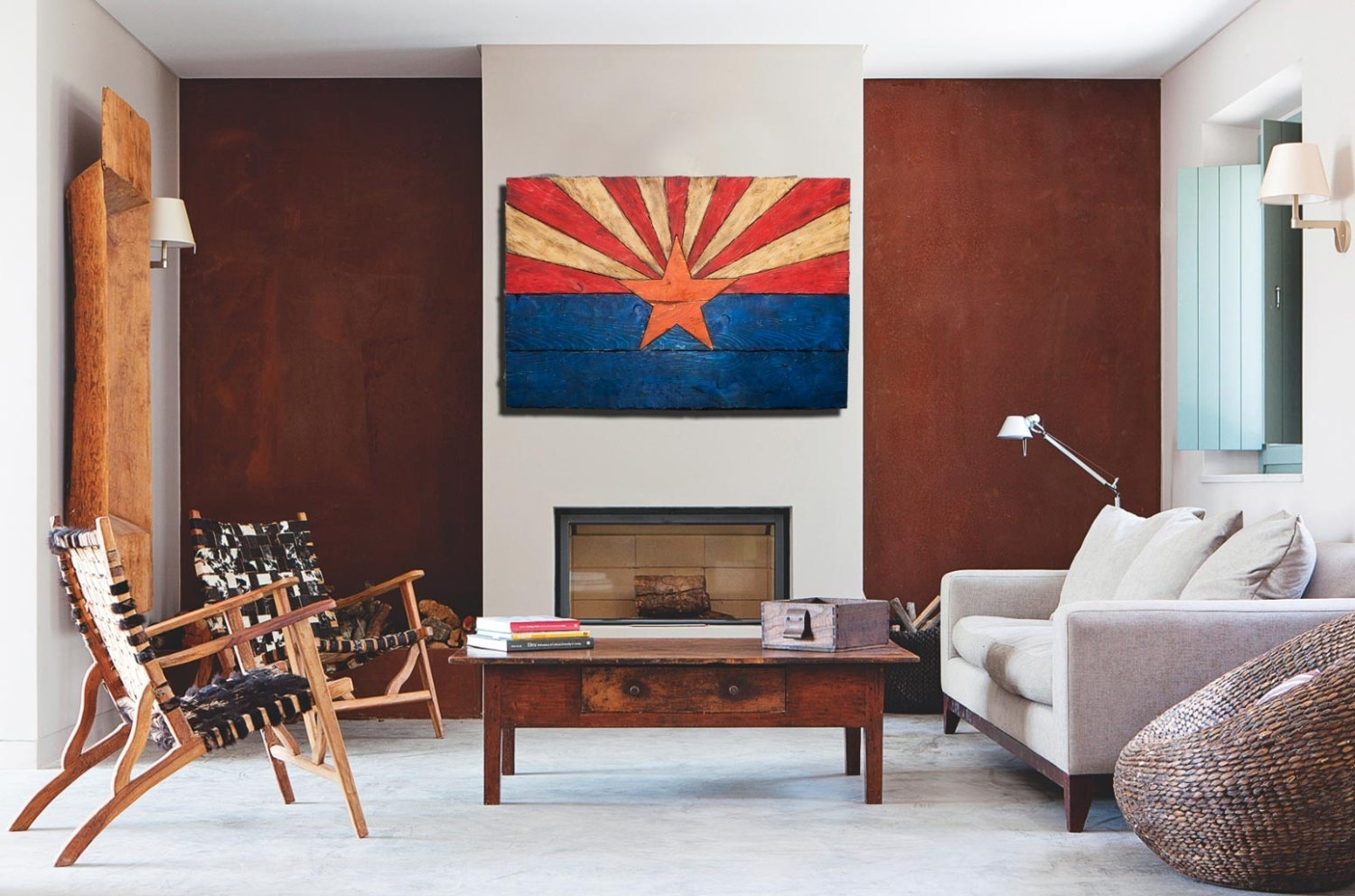 Arizona Flag, Handmade, Distressed Painted Wood, Vintage, Art inside Arizona Wall Art (Image 2 of 20)