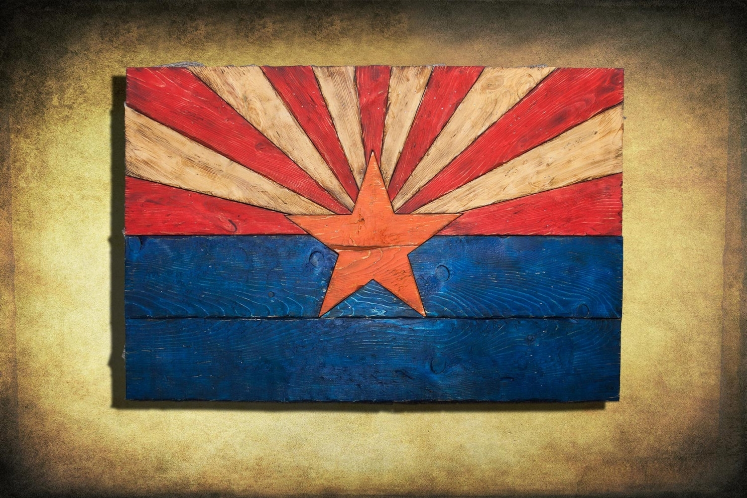 Arizona Flag, Handmade, Distressed Painted Wood, Vintage, Art Intended For Arizona Wall Art (View 12 of 20)