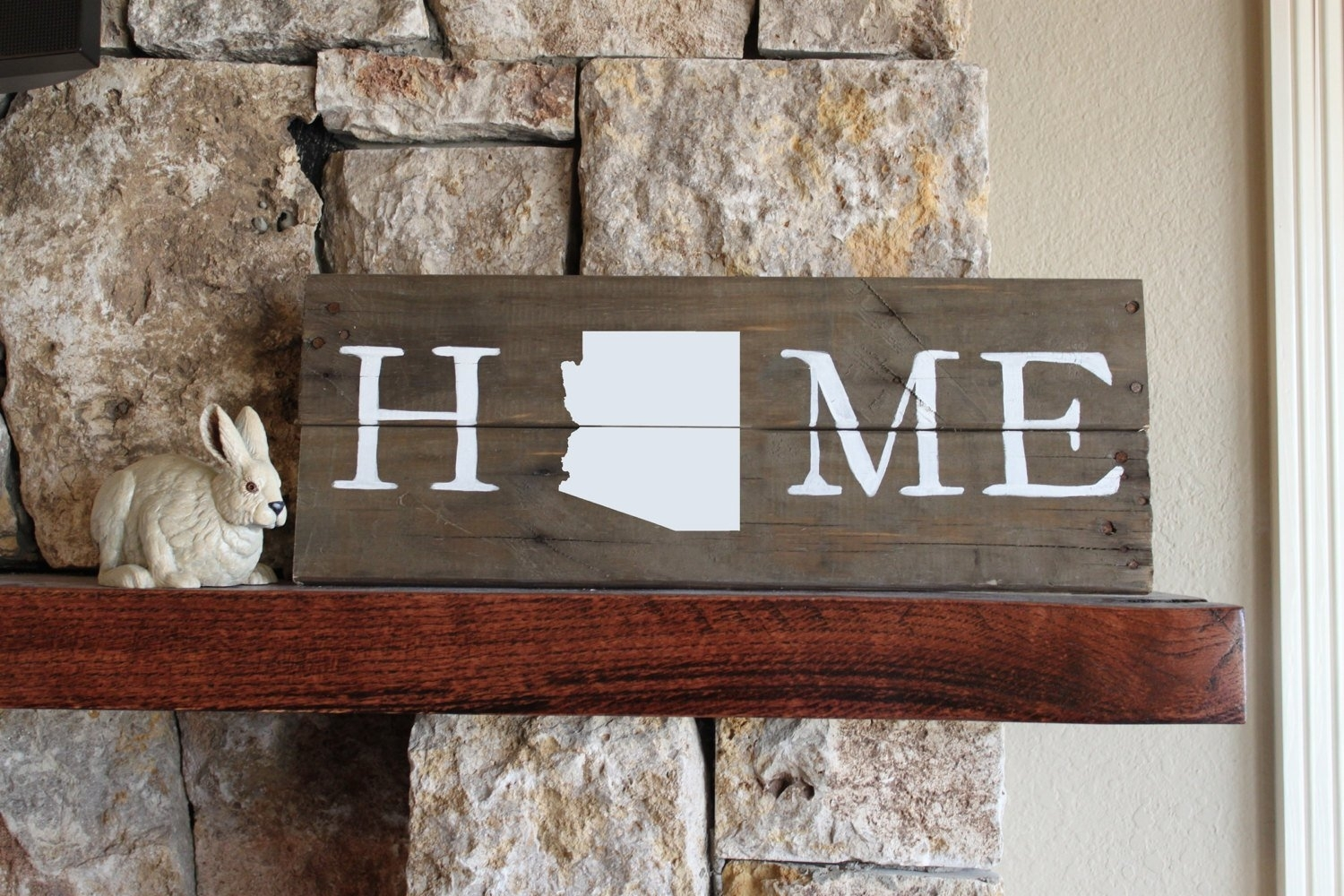 Arizona Home Reclaimed Wood Sign Arizona Wall Art Wooden | Etsy Intended For Arizona Wall Art (View 5 of 20)
