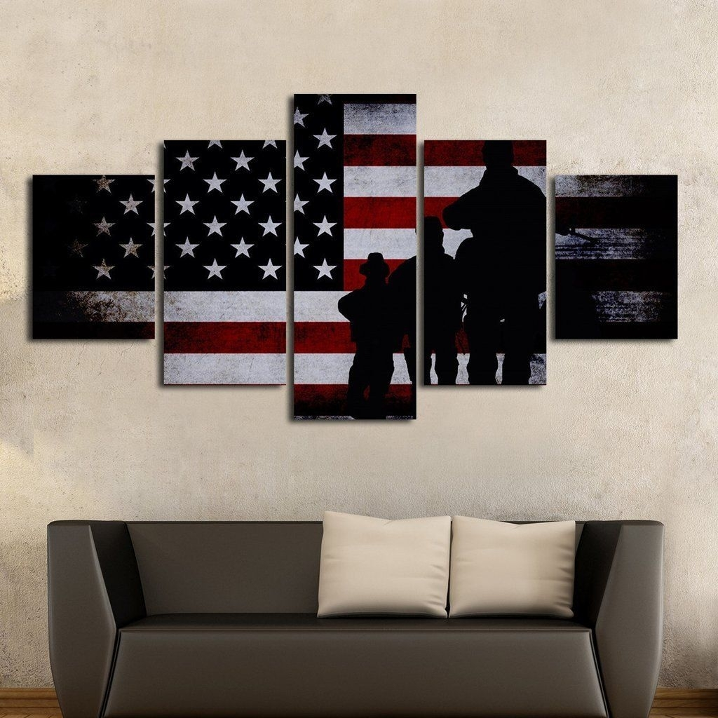 Army Special Forces Patriotic Multi Panel Wall Art Canvas | American pertaining to Multi Panel Wall Art (Image 3 of 20)