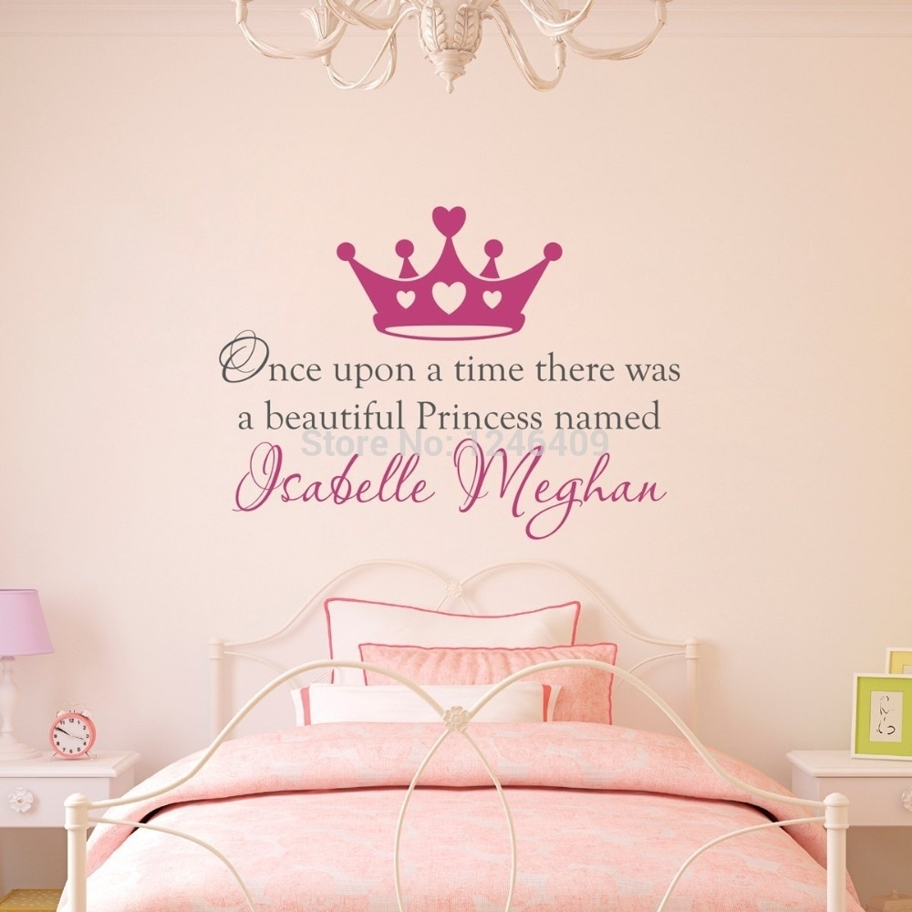 Art Custom Made Once Upon A Time Personalized Name Princess Crown With Regard To Personalized Wall Art (View 15 of 20)