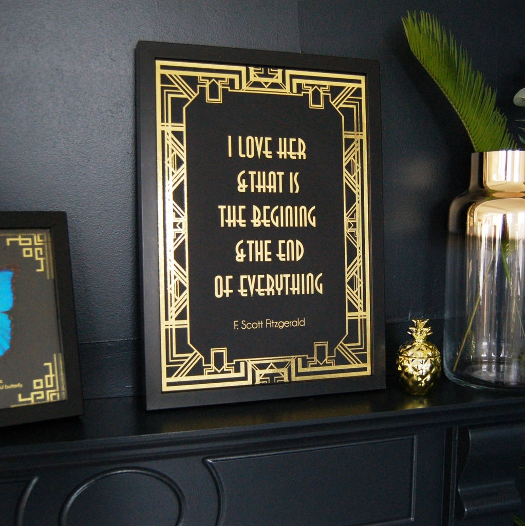 Art Deco Black And Gold Typography Print Wall Artmade With Love In Art Deco Wall Art (View 5 of 20)