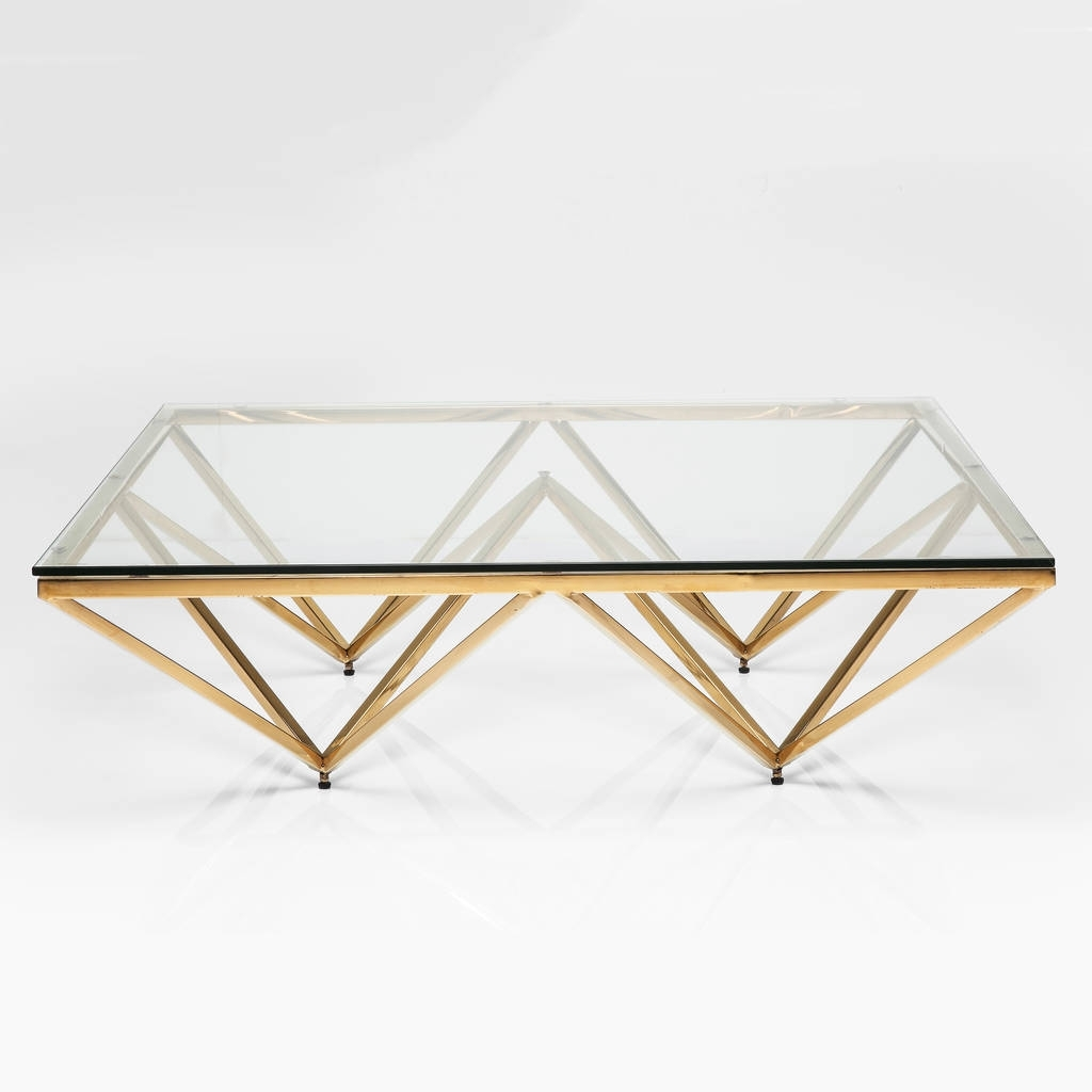 Art Deco Brass Square Glass Coffee Tablei Love Retro in Rectangular Brass Finish And Glass Coffee Tables (Image 2 of 30)
