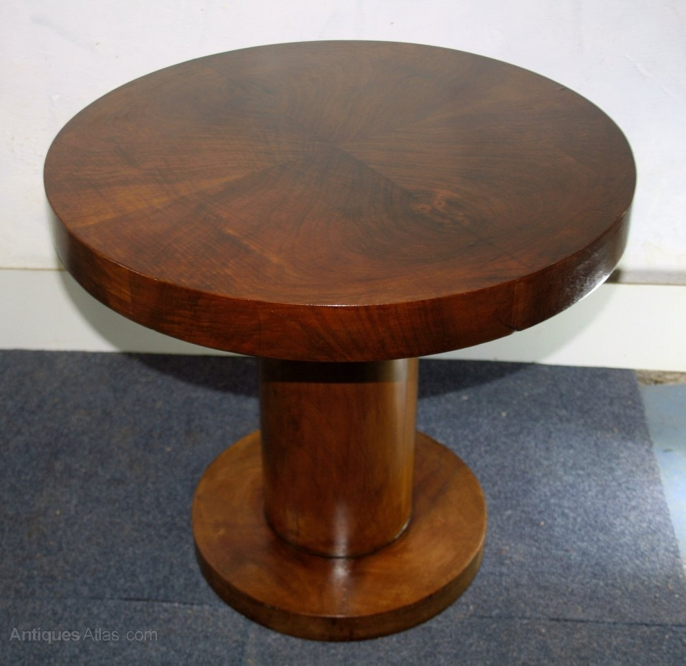 Art Deco Circular Walnut Coffee Table Pedestal - Antiques Atlas intended for Antiqued Art Deco Coffee Tables (Image 11 of 30)