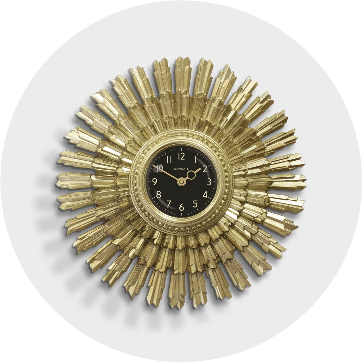 Art Deco Sunburst Wall Clock | Vintage Gold | Newgate | Sunblaze intended for Art Deco Wall Clock (Image 3 of 20)