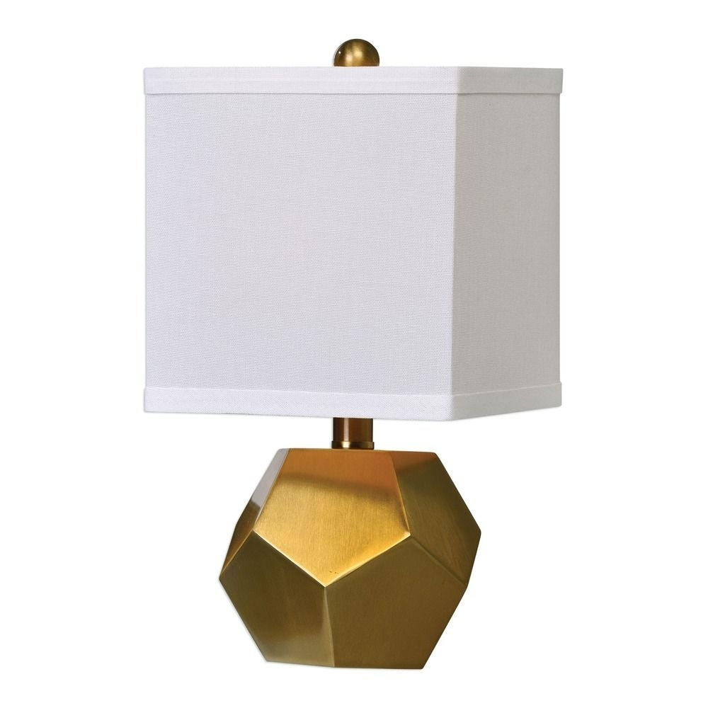 Art Deco Table Lamp Set Brass Pentagon Cubesuttermost Lighting in Brass Iron Cube Tables (Image 2 of 30)
