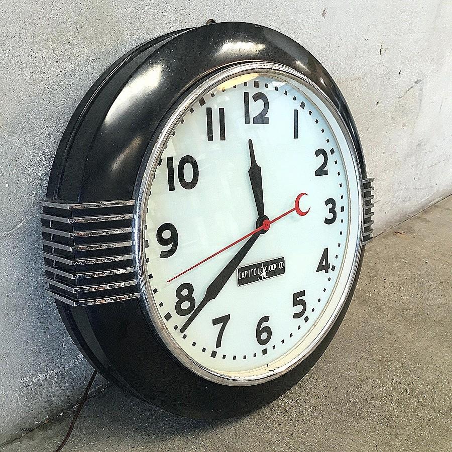 Art Deco Wall Clock Black : Andrews Living Arts - Unique Art Deco intended for Art Deco Wall Clock (Image 5 of 20)