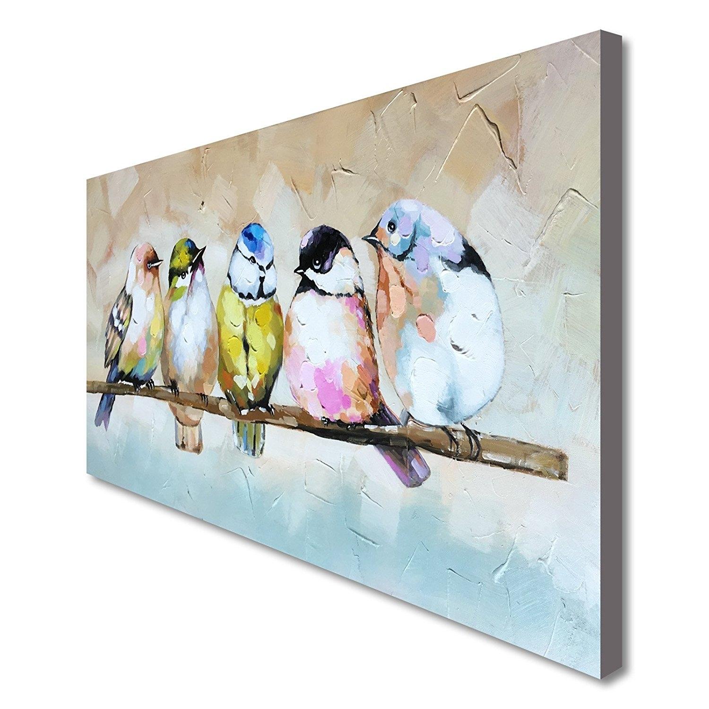 Art Handmade Bird Family Oil Painting Animal Canvas Wall Art Modern for Animal Canvas Wall Art (Image 13 of 20)