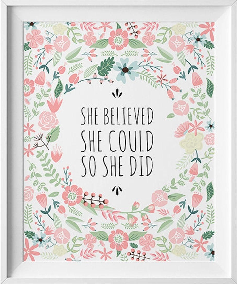 Art Wall Print With Wood Frame, She Believed She Could So She Did intended for She Believed She Could So She Did Wall Art (Image 2 of 20)