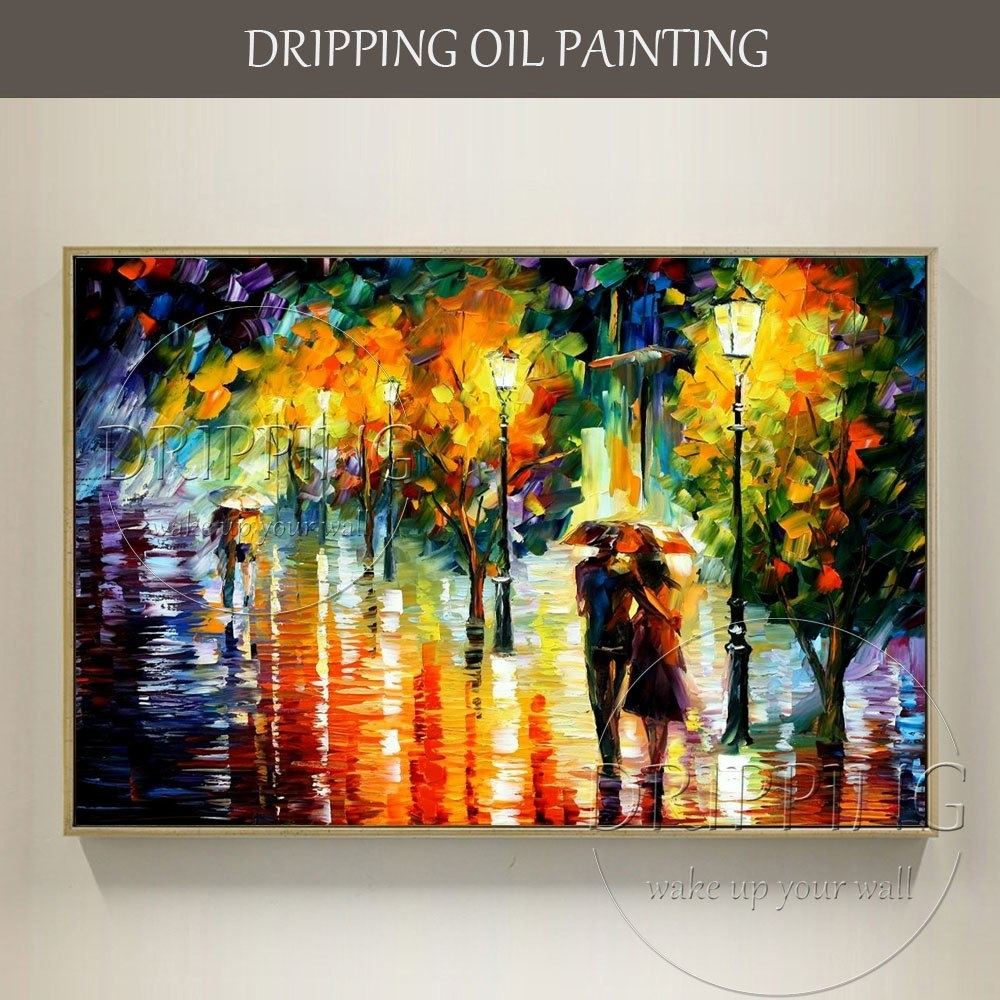 Artist Hand Painted Colorful Wall Art Abstract Scenery Lovers Oil regarding Colorful Wall Art (Image 3 of 20)