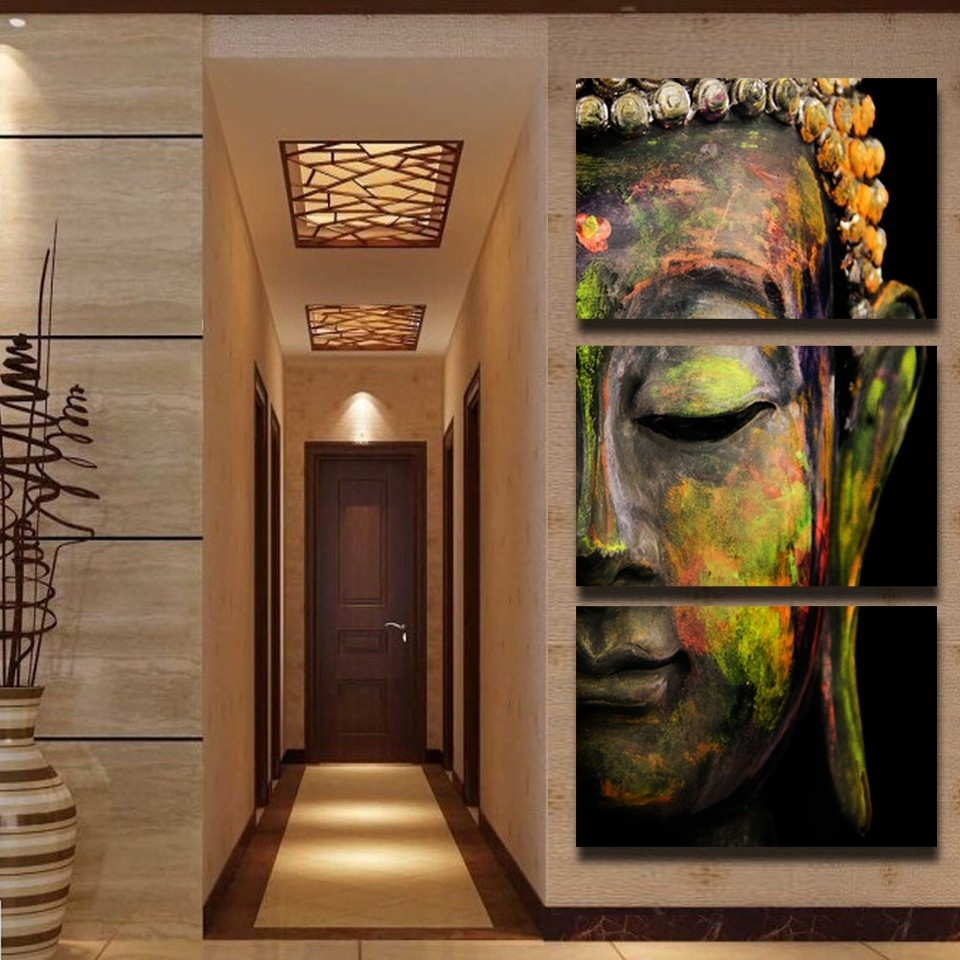 Artsailing Wall Art Hd Print 3 Piece Canvas Art Buddha Painting Wall Intended For 3 Piece Wall Art (View 10 of 20)
