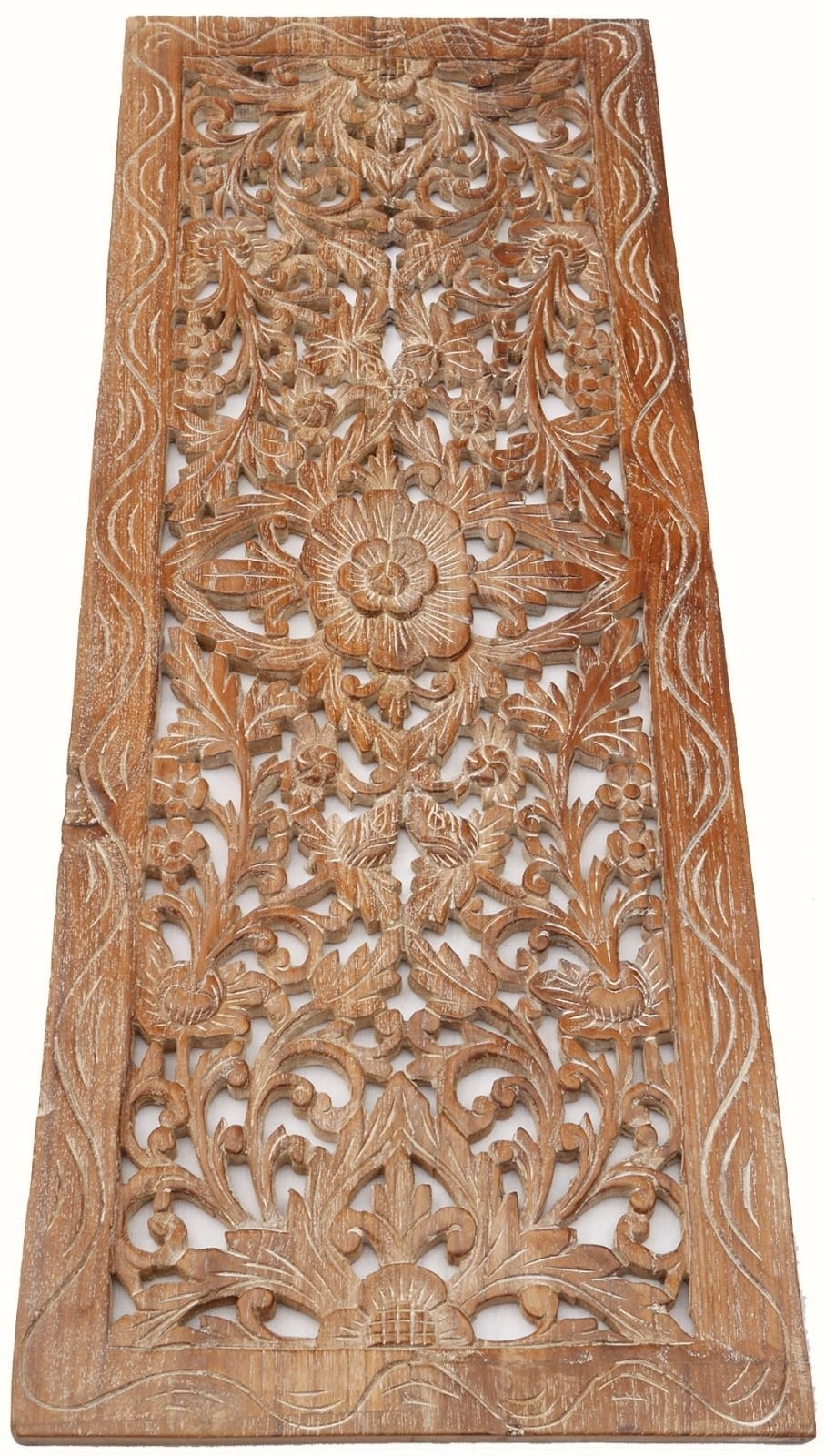 Asian Carved Wood Wall Decor Panel. Floral Wood Wall Art. White Wash throughout Carved Wood Wall Art (Image 3 of 20)
