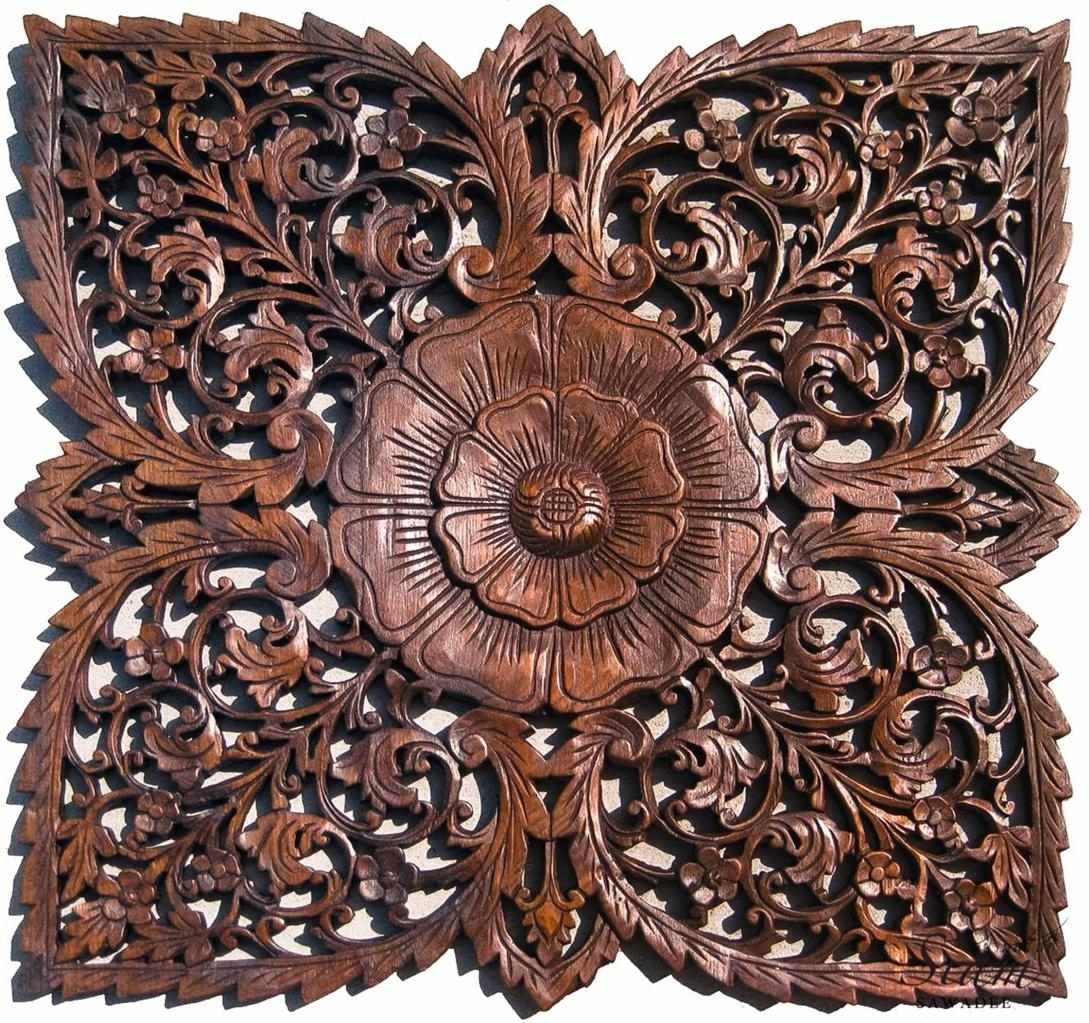 Asian Carved Wood Wall Decor Plaque (View 17 of 20)