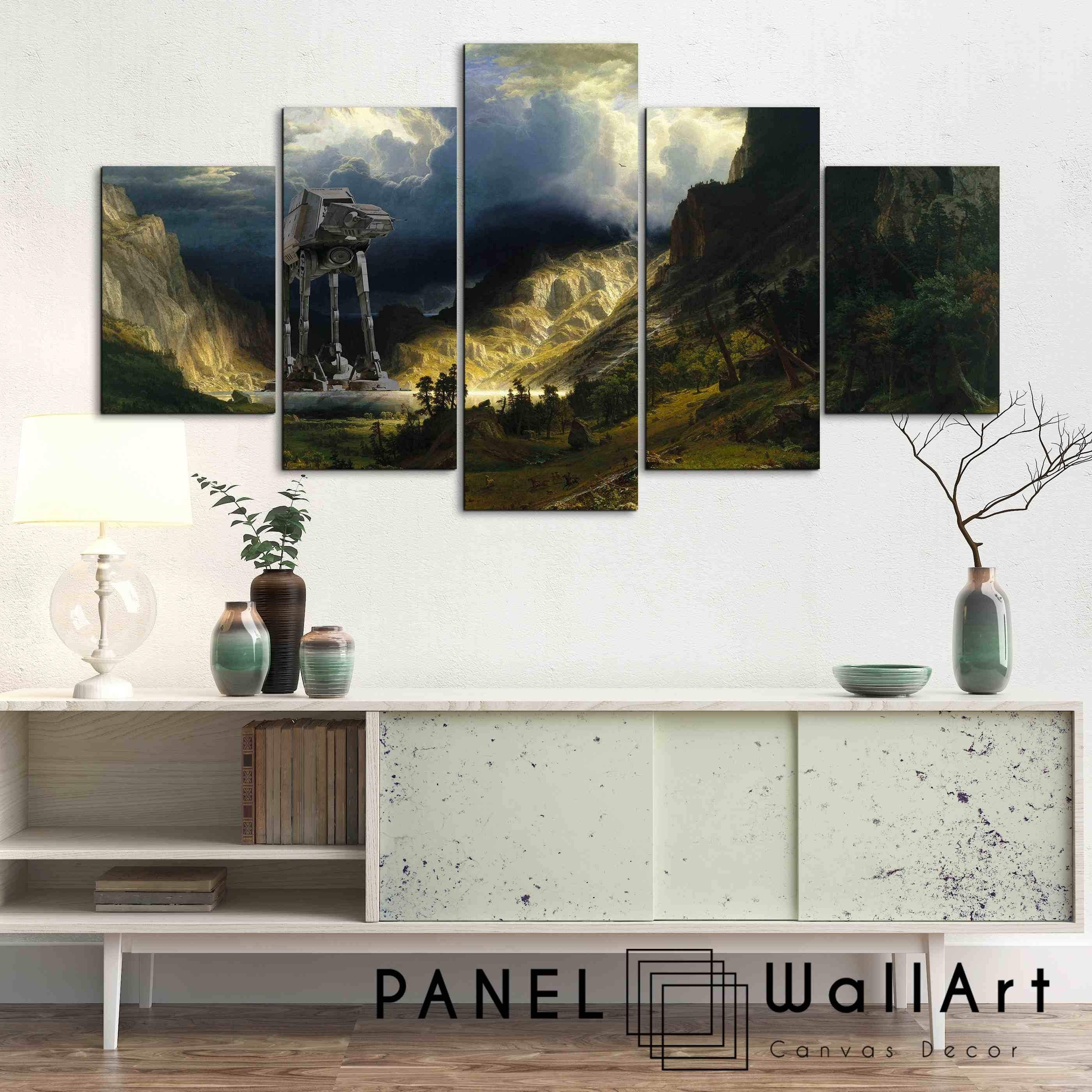 At At Walker The Star Wars Scene | 5 Panel Wall Art Canvas Prints Throughout 3 Piece Wall Art (View 11 of 20)