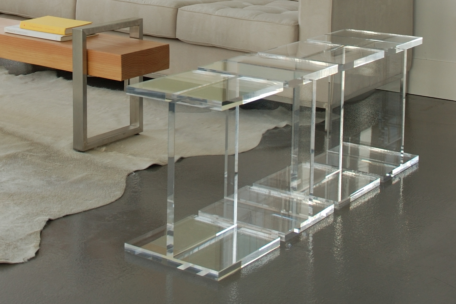 Attractive Design Ideas Of Acrylic Coffee Table With Square Shape throughout Modern Acrylic Coffee Tables (Image 8 of 30)