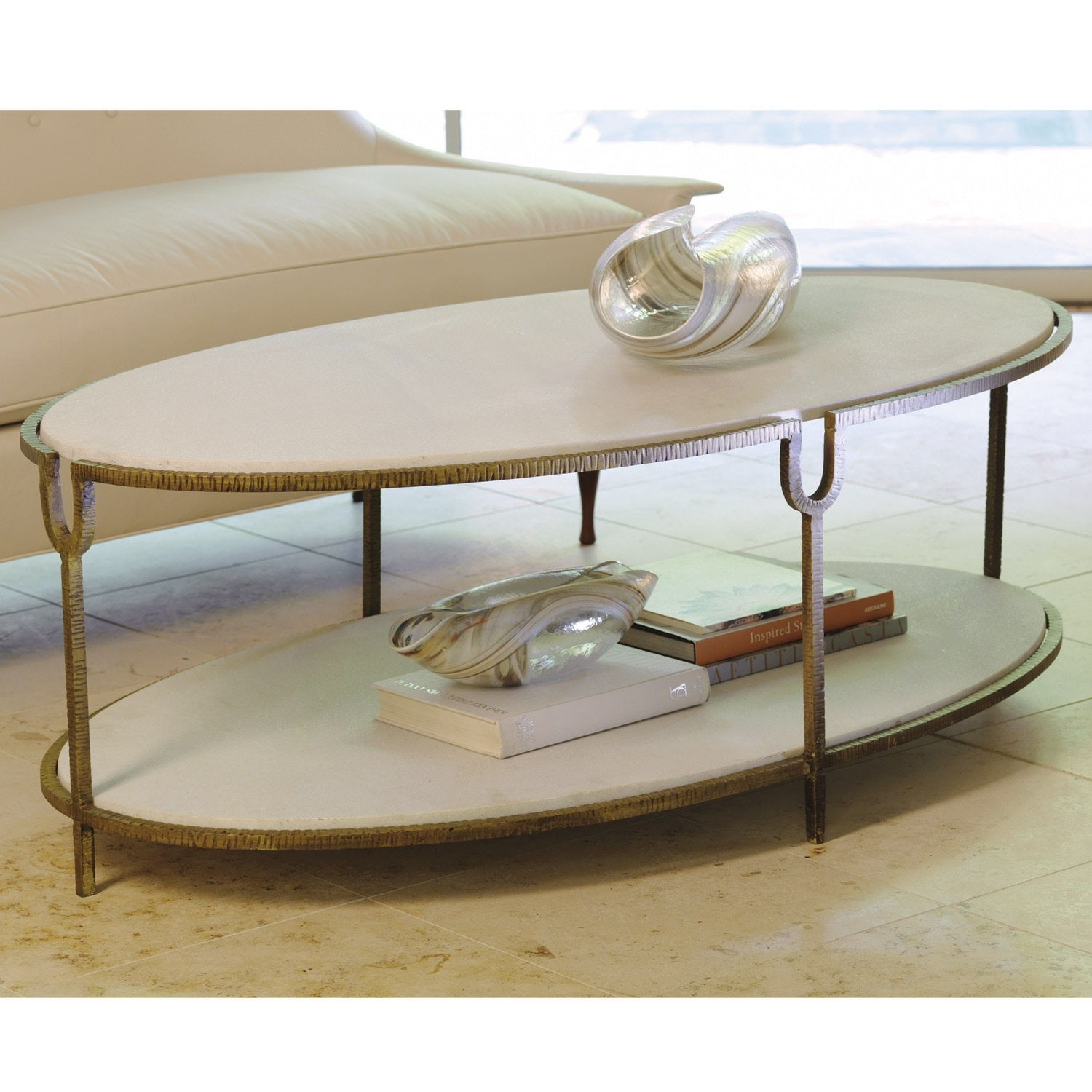 Attractive Oval White Stones Top And Single Tier Shelves As Storage In Stone Top Coffee Tables (View 4 of 30)