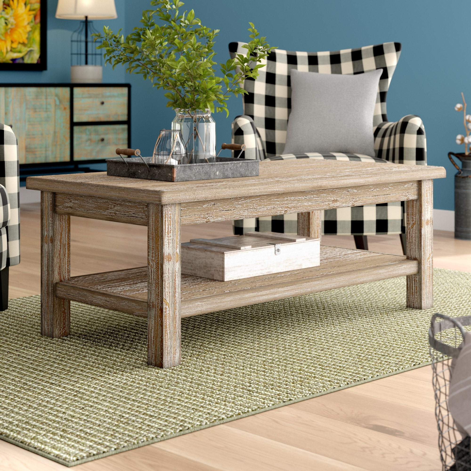August Grove Flores Coffee Table & Reviews | Wayfair in Element Ivory Rectangular Coffee Tables (Image 4 of 30)