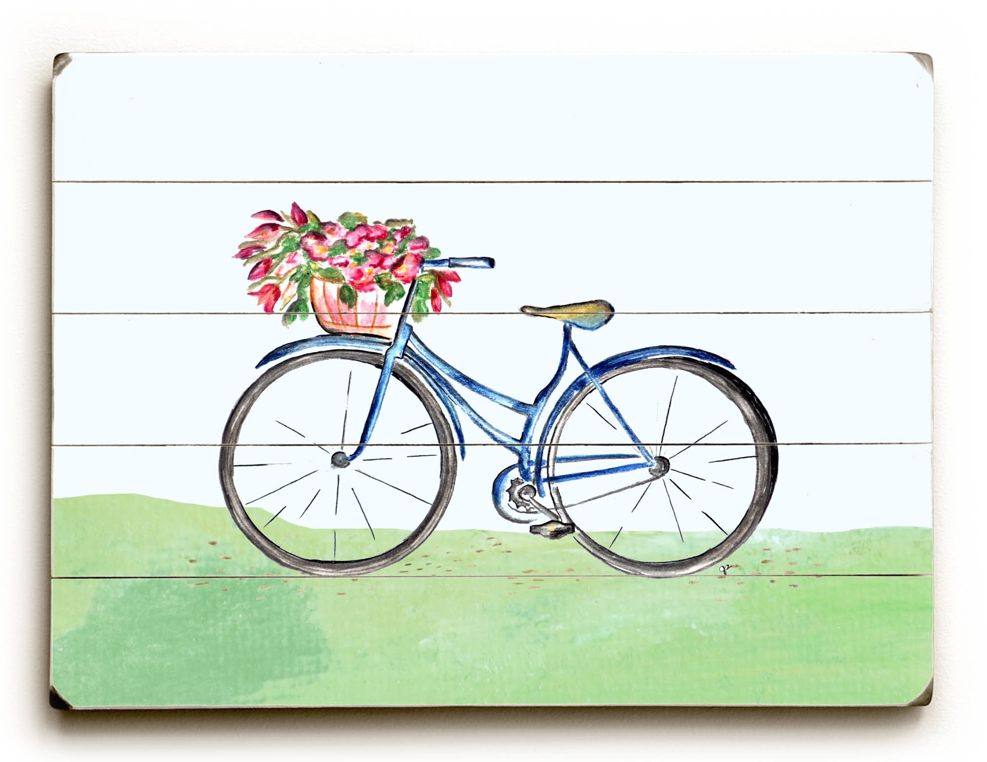August Grove &#039Spring Bicycle&#039 Wall Art Plaque - Wayfair
