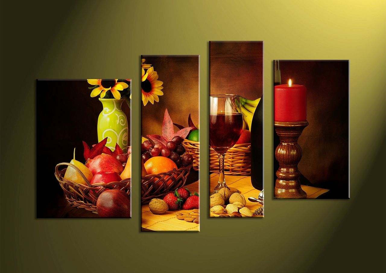 Awesome To Do Fruit Wall Art 4 Piece Colorful Wine Fruits Canvas For Kitchen Canvas Wall Art Decors (View 5 of 20)