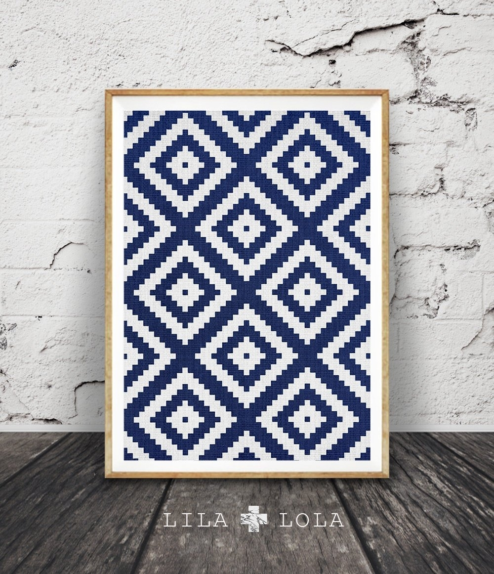 Aztec Pattern Print, Navy Blue Wall Art, Storm Blue South Western throughout Navy Blue Wall Art (Image 2 of 20)