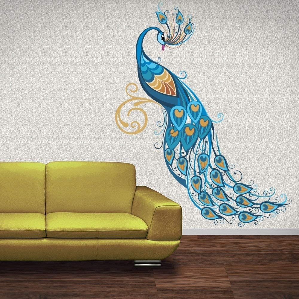 Azutura Blue Peacock Wall Sticker Birds & Feather Wall Decal Art Intended For Peacock Wall Art (View 9 of 20)