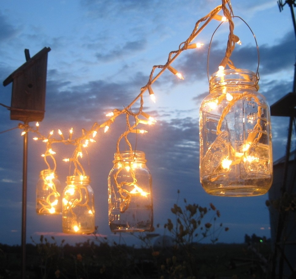 Backyard Outdoor Lighting Ideas With Diy Mason Jar Candle Holder inside Outdoor Jar Lanterns (Image 2 of 20)