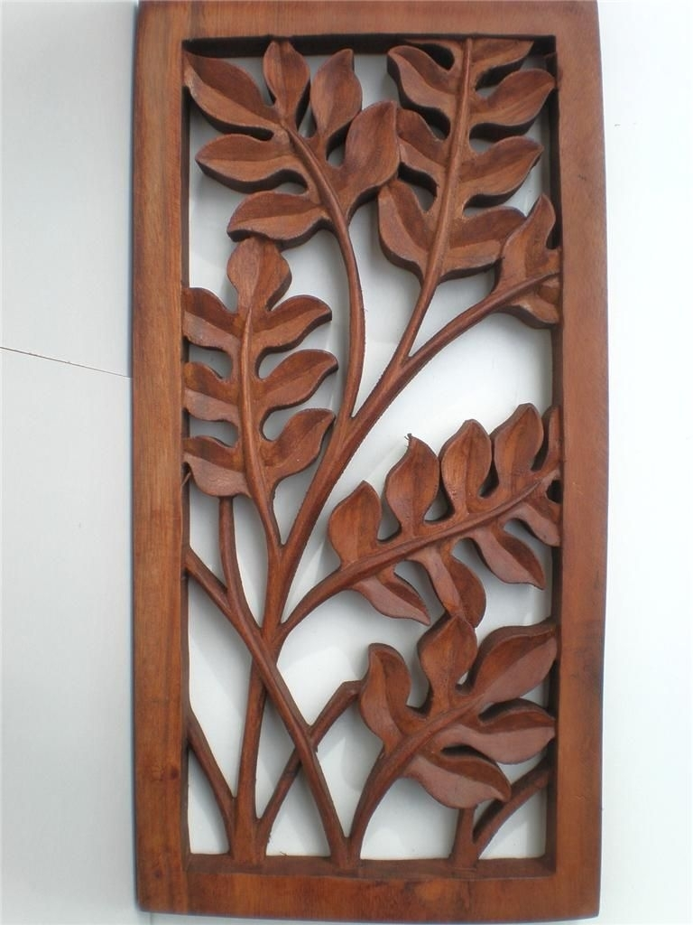 Bali Leaf Wood Carved Wall Art Hanging Relief Carving Balinese 40cm For Wood Carved Wall Art (View 4 of 20)