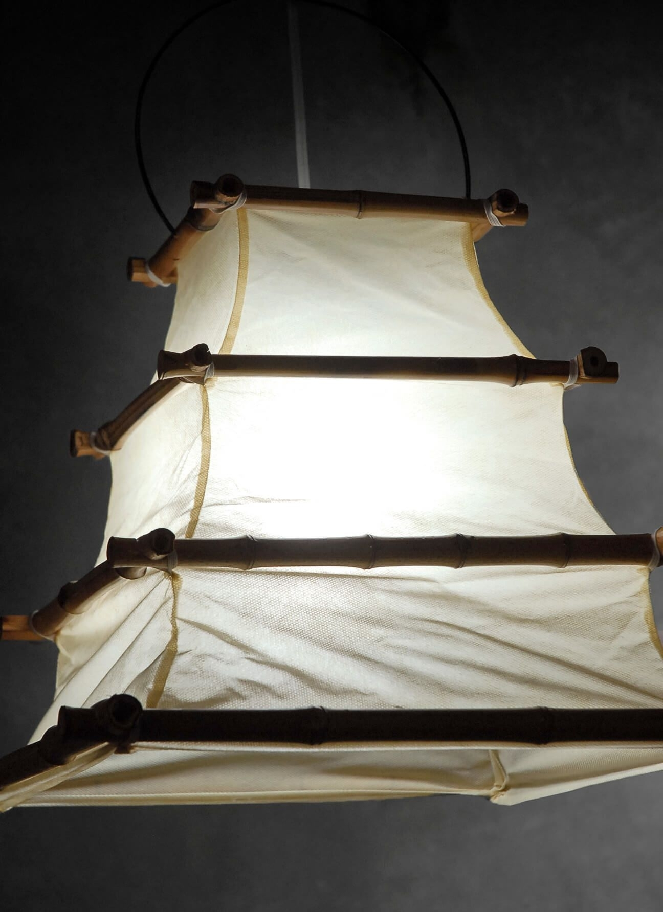 Bamboo And Cloth Hanging Lantern 16X12 | Hanging Lanterns, Outdoor Inside Outdoor Bamboo Lanterns (View 4 of 20)